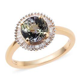 ILIANA 18K Yellow Gold AAA Peacock Tanzanite (Rnd), Diamond (SI/G-H) Ring 2.00 Ct, Gold wt 3.89 Gms