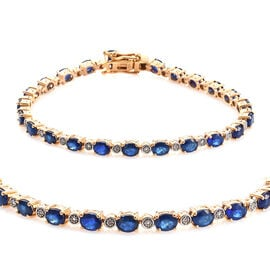 9.25 Ct Blue Spinel and Diamond Tennis Bracelet in Gold Plated Sterling Silver 10.55 Grams