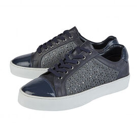 Lotus Navy Leather Cologne Lace-Up Trainers in Navy Colour