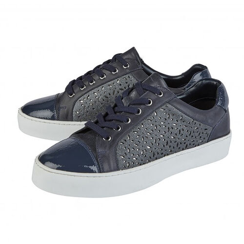 Lotus Navy Leather Cologne Lace-Up Trainers (Size 3)