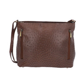 Midnight Mega Deal- 100% Genuine Leather Ostrich Embossed Crossbody Bag (Size 32x25.4x12 Cm) - Dark