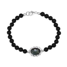 5.50 Ct Vivianite Beaded Adjustable Bracelet in Sterling Silver 7.5 Inch