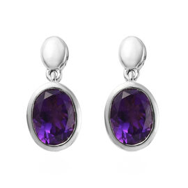 Amethyst (Ovl 8x6mm) Drop Earrings (with Push Back) in Platinum Overlay Sterling Silver 2.00 Ct.