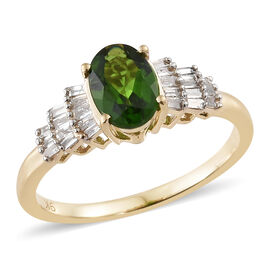 1 Carat AA Russian Diopside and Diamond Ballerina Ring in 9K Gold