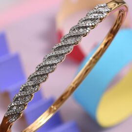 Natural Diamond (Bgt) Bangle (Size 7.5) in 14K Gold Overlay Sterling Silver 1.00 Ct, Silver wt 13.00