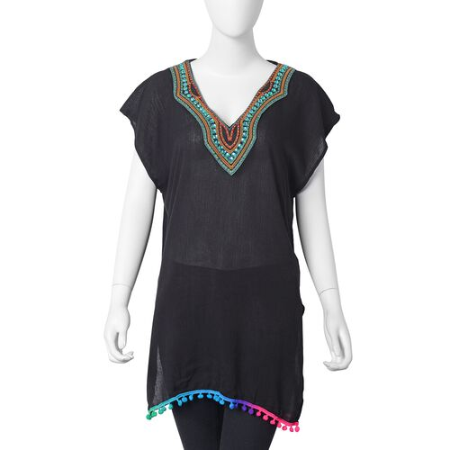 Black, Green and Red Colour V Neckline With Bohemian Style Ornate Embroidered Summer Poncho with Gre