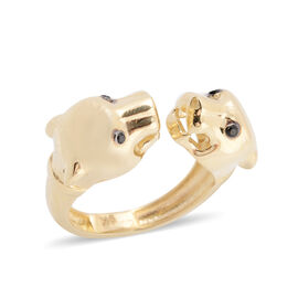 JCK Vegas Double Panther Head Open Ring in 9K Gold 3.44 grams