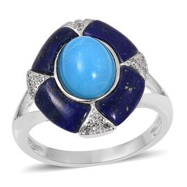 Arizona Sleeping Beauty Turquoise (Ovl 1.75 Ct), Lapis Lazuli and Natural Cambodian white Zircon Ring in Rhodium Overlay Sterling Silver 3.700 Ct.