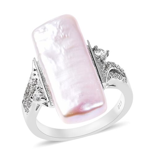 Keshi Pearl and Zircon Solitaire Ring in Rhodium Plated Silver