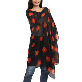 100% Mulberry Silk Poppy Print Scarf (180x100cm) - Black