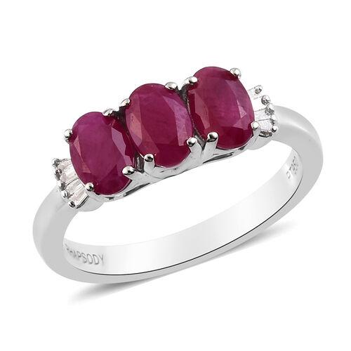 RHAPSODY 950 Platinum AAAA Burmese Ruby and Diamond Ring 1.90 Ct, Platinum wt. 4.56 Gms