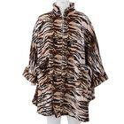 Tiger Print Super Soft Microfibre Jacket with Front Zipper Opening - Black, Brown and Beige