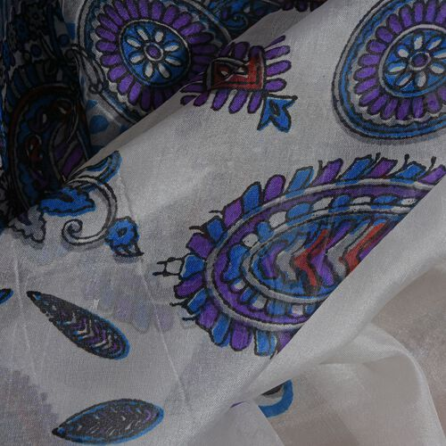100% Mulberry Silk Blue, White and Multi Colour Handscreen Floral and Paisley Printed Scarf (Size 200X180 Cm)