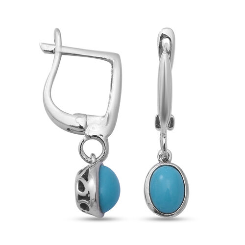 Arizona Sleeping Beauty Turquoise Hoop Drop Earrings in Rhodium Overlay Sterling Silver 1.60 Ct.
