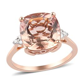 9K Rose Gold AA Moroppino Morganit and White Diamond Ring 5.25 Ct.