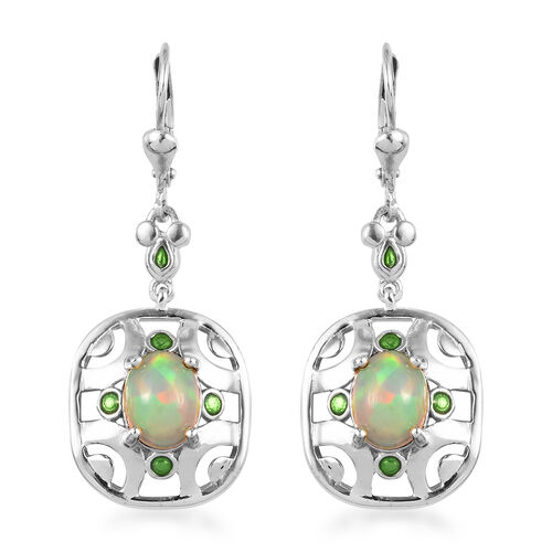 Ethiopian Welo Opal Lever Back Earrings in Platinum Overlay Sterling Silver 2.50 Ct.
