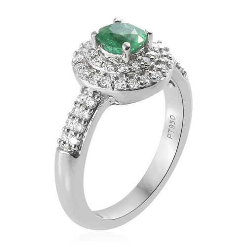RHAPSODY 950 Platinum AAAA Kagem Zambian Emerald (Rnd), Diamond (VS/E-F) Ring 1.00 Ct.Platinum Wt 6.16 Gms