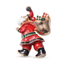 Christmas Red and Green Austrian Crystal Santa Claus Enamelled Brooch Cum Pendant in Yellow Gold Ton