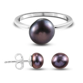 OTO - 2 Piece Set -  Fresh Water Peacock Pearl Solitaire Ring and Solitaire Stud Push Post Earring