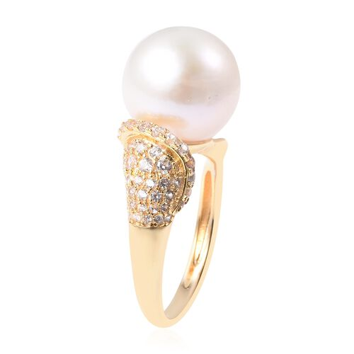 Edison Pearl (Rnd), Natural Cambodian White Zircon Ring in Yellow Gold Plated Sterling Silver