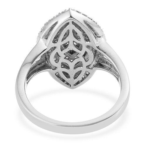J Francis - Platinum Overlay Sterling Silver (Rnd) Leaf Ring Made with SWAROVSKI ZIRCONIA, Silver wt 6.40 Gms. Number of Gemstone 103