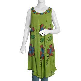 Green and Multi Colour Umbrella Dress (Size 116x132 Cm)