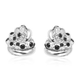 RACHEL GALLEY Boi Ploi Black Spinel (Rnd) Knot Stud Earrings (with Push Back) in Rhodium Overlay Sterling Silver 0.370 Ct, Silver wt 7.38 Gms.