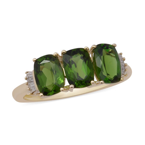 9K Yellow Gold AAA Russian Diopside and White Diamond Ring 2.84 Ct.