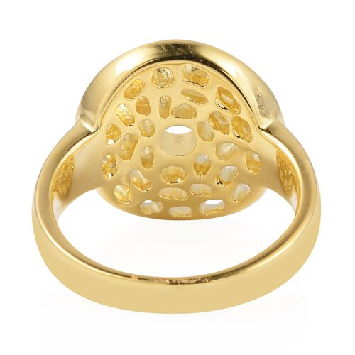 WEBEX- Rachel Galley Yellow Gold Overlay Sterling Silver Enkai Sun Small disc Ring, Silver wt 5.66 Gms.