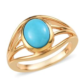1.50 Ct Arizona Sleeping Beauty Turquoise Solitaire Ring in 14K Gold Plated Silver
