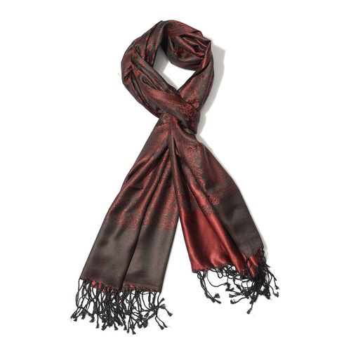 100% Superfine Silk Dark Red Colour Jacquard Jamawar Shawl with Fringes (Size 185x70 Cm) (Weight 125