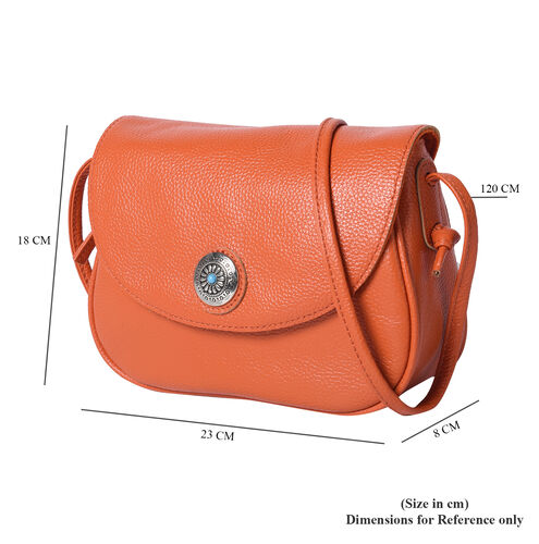 100% Genuine Leather Middle Size Litchi Pattern Crossbody Bag (Size 23x8x18cm) - Orange