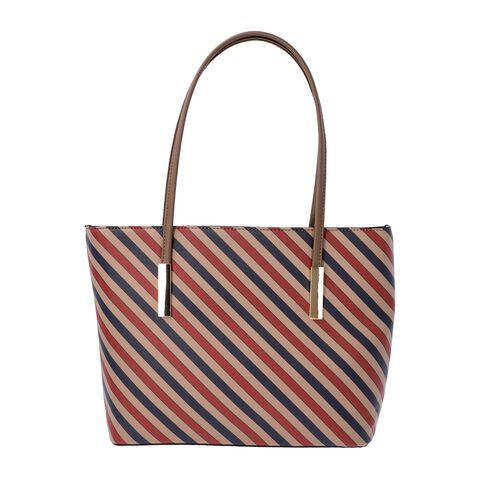 Diagonal Stripe Pattern Tote Bag with Zipper Closure and External Pocket (Size 32x11x26 Cm) - Brown,