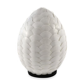 Handcrafted Seashell ES Battery Table Lamp with Pear Shape Armadillo Motif (Size 20x25 Cm)