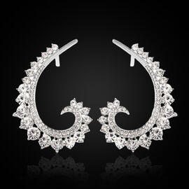 Designer Inspired - Austrian White Crystal Climber Earrings (with Push Back) in Silver Tone