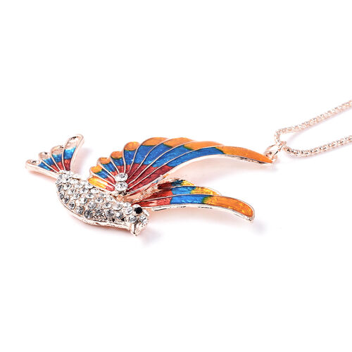 Set of 2 - White and Black Colour Austrian Crystal Enamelled Bird Pendant with Chain (Size 28 with 2 inch Extender) and Compact Mirror in Rose Gold Tone