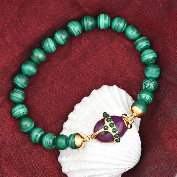 Sundays Child-  Special Order - Malachite, Amethyst and Boi Ploi Black Spinel Stretchable Bracelet (Size 7.5) in 14K Gold Overlay Sterling Silver 138.00 Ct.