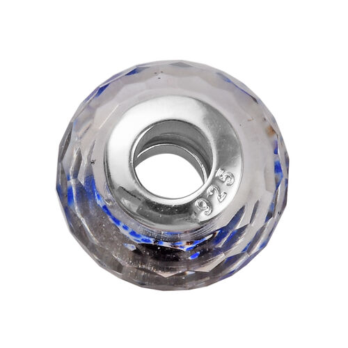 Charmes De Memoire Blue, White and Brown Murano Style Glass Bead Charm in Platinum Overlay Sterling Silver