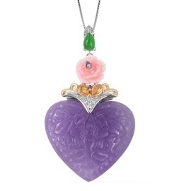 Carved Purple Jade (Fancy 34.750), Multi Gemstone Heart Pendant with Chain (Size 18) in Rhodium and Gold Overlay Sterling Silver 37.585 Ct.