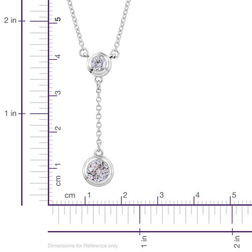 J Francis - Platinum Overlay Sterling Silver (Rnd) Necklace (Size 18) Made with SWAROVSKI ZIRCONIA