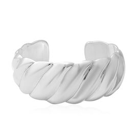 Designer Inspired- Rhodium Overlay Sterling Silver Cuff Bangle (Size 7 - 8), Silver wt 26.64 Gms.