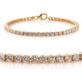J Francis - 14K Gold Overlay Sterling Silver (Rnd) Bracelet (Size 7.5) Made With SWAROVSKI ZIRCONIA