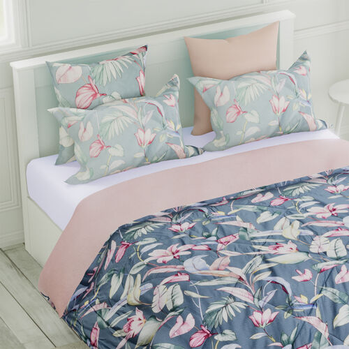 4 Piece Set - Mulberry Silk Quilt with Cotton Printed Cover (200x200cm), 2 Pillow Cases (50x70+5cm) and Cushion Cover (40x40cm) - Teal