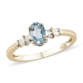 9K Yellow Gold AA Espirito Santo Aquamarine (Ovl 6.5x4.5mm), Diamond Ring 0.56 Ct.