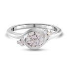 J Francis Sterling Silver Three Stone Ring (Size T) Made with SWAROVSKI ZIRCONIA 1.54 Ct.