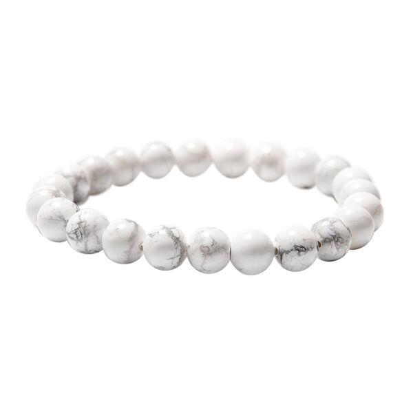 White Howlite Beads Stretchable Bracelet (Size 6.5) 103.50 Ct.