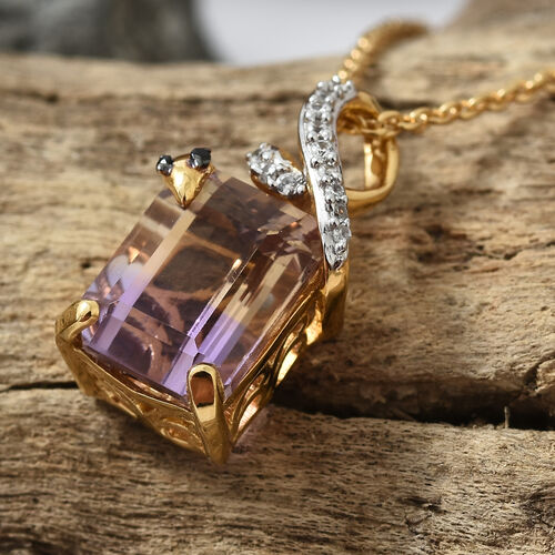 Natural Anahi Ametrine (Oct), Boi Ploi Black Spinel and Natural White Cambodian Zircon Pendant with Chain in 14K Gold Overlay Sterling Silver 4.750 Ct