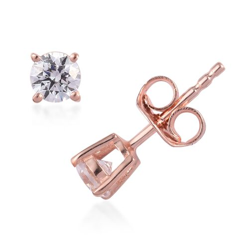 J Francis - Set of 4 - Rose Gold Overlay Sterling Silver Stud Earrings (with Push Back) Made with SWAROVSKI ZIRCONIA ( 0.5 Carat + 1 Carat + 2 Carat+ 4 Carat)