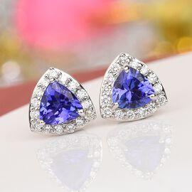 ILIANA 18K White Gold AAA Tanzanite and Diamond Halo Stud Earrings (with Screw Back) 1.10 Ct.