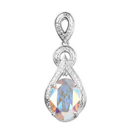 J Francis - Crystal from Swarovski AB Crystal (Ovl 14x10 mm), Diamond Pendant in Sterling Silver 5.5
